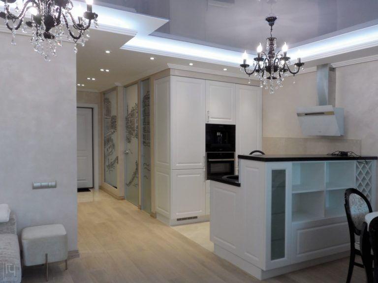 Дизайн интерьера - квартира студия в классическом стиле