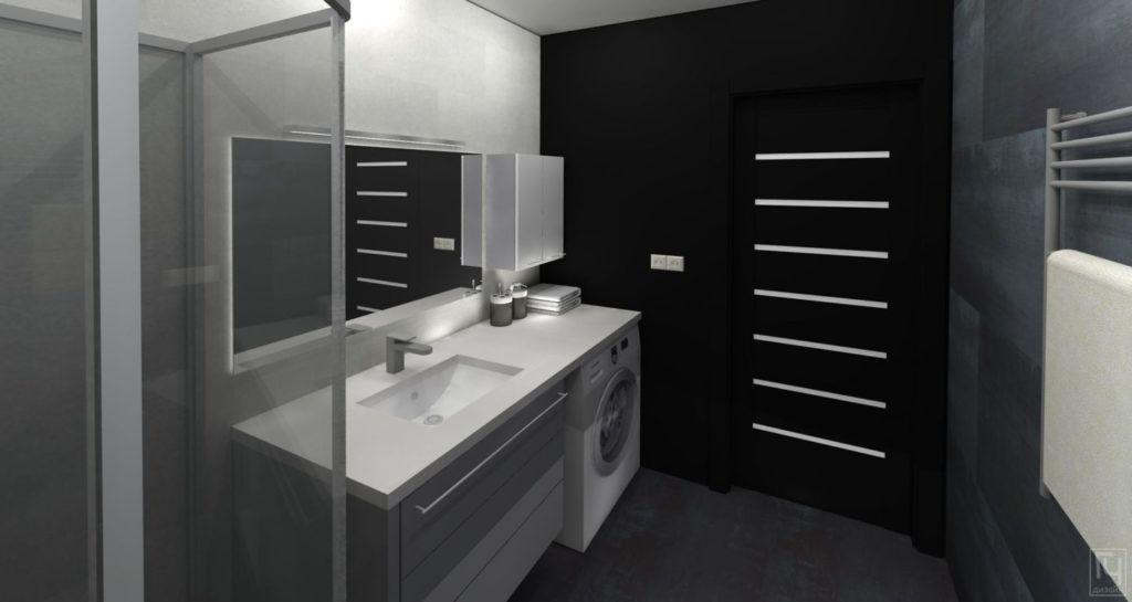 Чёрно-белый санузел