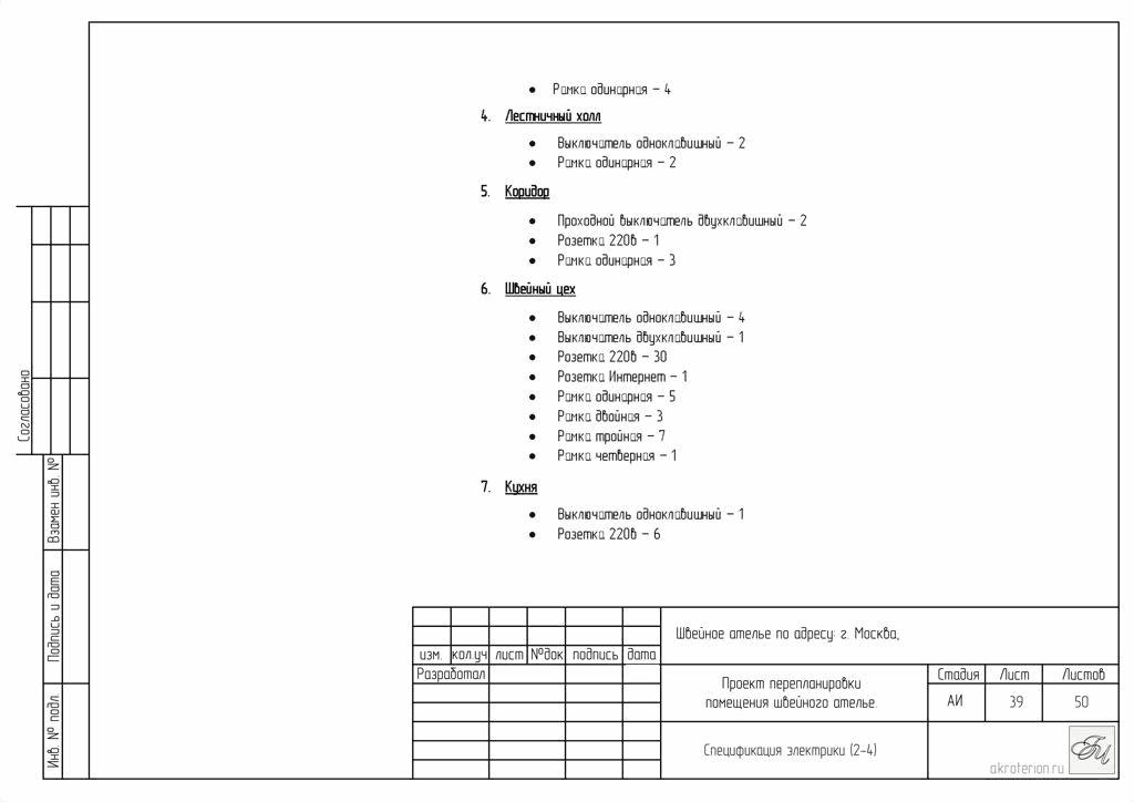 Спецификация электрики
