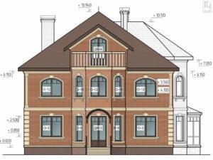 Пример чертежа фасада дома