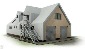 Каркасный гостевой дом с гаражом