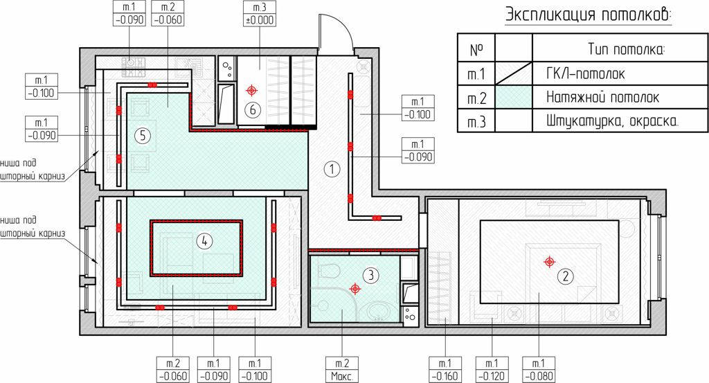 План потолков квартиры в ЖК Мещерский лес
