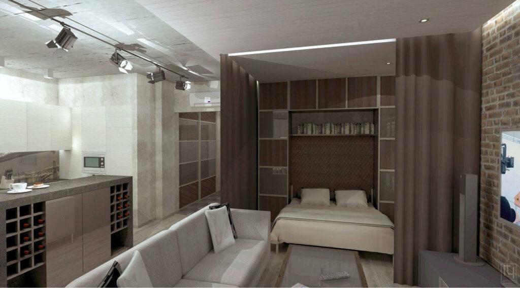 Кровать за шторами