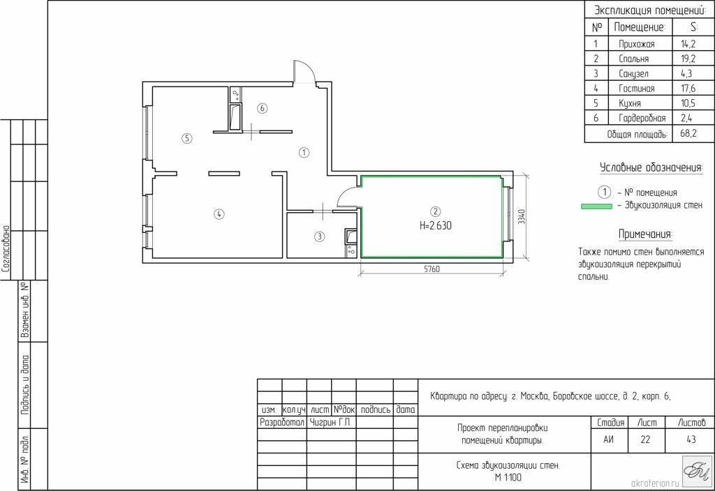 Лист 22: Схема звукоизоляции стен