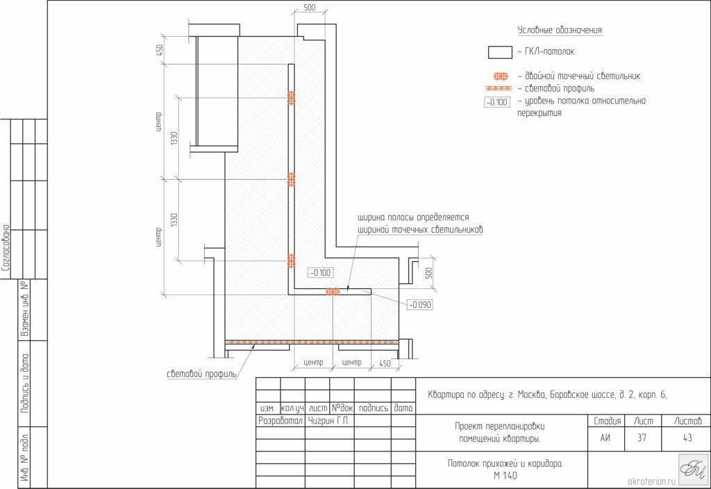 Лист 37: Потолок прихожей и коридора