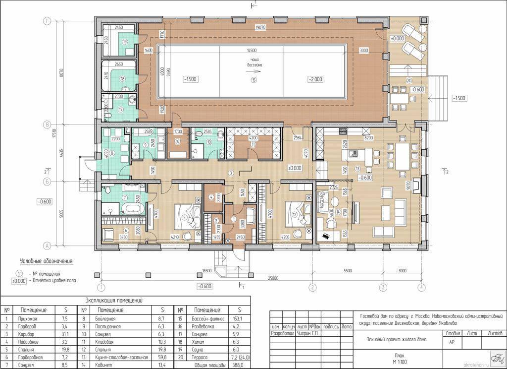 Планировка дома с бассейном